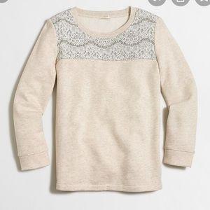 J crew factory lace yoke sweatshirt